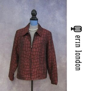 Erin London Red & Black Crinkle Zip Front Jacket L